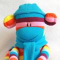 Sock Monkey Bright Rainbow Stripes, Soft Toy