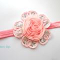 Pink Lace Flower Headband