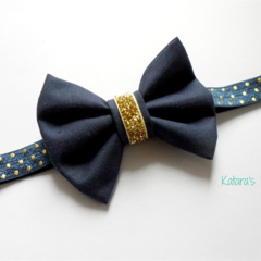 Navy and gold classic navy fabric bow stretch headband