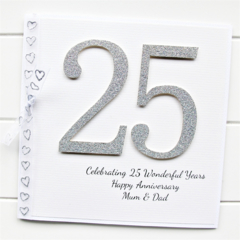 25th Anniversary card | Personalised | Wedding Silver Anniversary | Custom Made