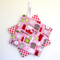 2 x Reversible Pot Holders - Kitchen Utensils on pink with polka dots