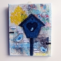 Bird family and bird house mixed media canvas in blue and yellow