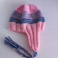 Hand Knit Wool Baby Beanie Hat, Earflap & Ties, Baby, Pink/Green/Grey