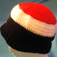 Crocheted Black, Red and White