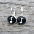 Glass dome hoop earrings - musical note