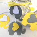 Yellow & Grey Elephant baby shower gift tags. Favor tag, baby boy, baby girl.