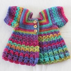 Crocheted Bella Rebekah Cardigan. Size 6-12 months & 4-5 years