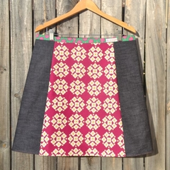 Garden Hydrangea Mustard & Burgundy with denim, A line skirt