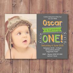 Personalised Boys 1st Birthday Printable Invitation (Digital File)