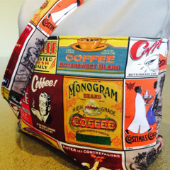 Medium Grey Canvas tote bag with a Retro Coffee fabric. Ideal carry on bag.