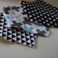 Black and White Mix Adjustable Baby Bandana Bibs with Bamboo Fleece