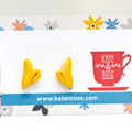 Banana studs - polymer clay earrings - banana earrings