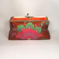 Retro in brown large clutch purse