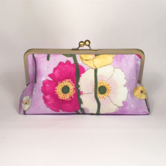 Poppies on purple large clutch purse