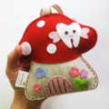 Red Toadstool - Tooth Fairy pillow 100% pure wool felt, Perth Australia
