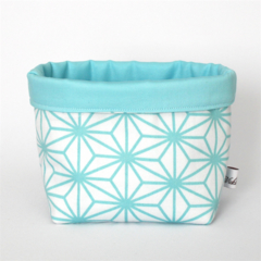 Fabric Storage / Gift Basket - Turquoise & White Geometric