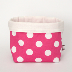 Fabric Storage / Gift Basket - Hot Pink and White Spot