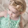 Gold Metallic Bow Headband - Baby - Toddler - Birthday