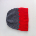 Hand Knit, Wool, Toddler Slouchie Beanie Hat, Grey & Red