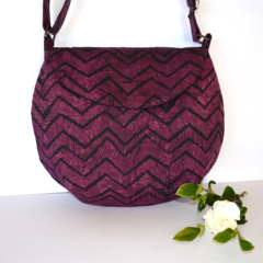 Batik chevron cross body bag, Plum shoulder bag