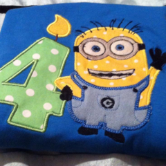 Minion Personalized Birthday Applique/ Embroidered Baby/ Kids Tee shirt