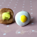 egg and toast polymer clay earrings