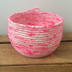 Rope Basket / Pink / Handmade, Homewares, Storage, Bowl, Vessel