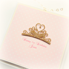 Any Age Princess card personalised birthday tiara keepsake girl 1 2 3 4 5