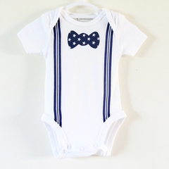 Boys Onesie Bodysuit or T Shirt with Stripy Suspenders and Star Print Bow tie