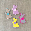 Bunny rabbit felt hair clip, purple, beige, yellow, grey, small gift