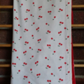 Large cotton / minky baby blanket for baby girl - Cherries!