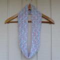 crochet infinity scarf   multicolour pastel pink aqua blue white   2 - 8+ years