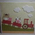 Farm Animal Tractor Large Square Card
