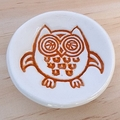 Orange owl porcelain ring dish, ring holder. Ceramic bowl.