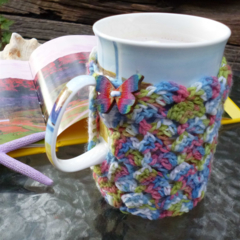 Mug cozy, coffee cosy, cup warmer, modern multicolours | teacher Christmas gift