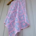 crochet baby blanket | newborn gift | multicolour pastel pink, blue, aqua, white
