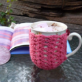 Mug cozy, coffee cosy, cup warmer   watermelon pink  birthday gift, teacher gift