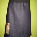 Denim Skirt with Japanese Print & Bamboo Stretch Waist