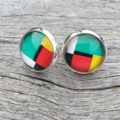 Glass dome stud earrings - Colourful