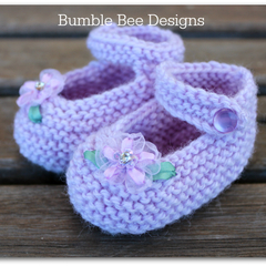 Hand Knitted Lavender wool Mary Jane Booties with Bling ribbon flower