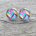 Glass dome stud earrings - Colourful chevron