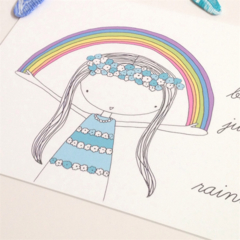 """You Are Beautiful, Just Like A Rainbow Illustration Print  8x10"""" / A4"""