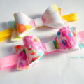 Watercolour bow pair - headband or clip - your choice