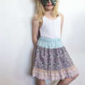 Size 2 OR 4 OR 5 Girls Lace Twirl Skirts, Vintage Pastel Florals, 100% Cotton