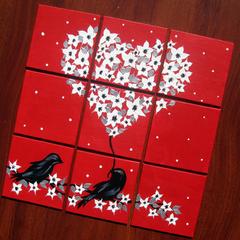 romantic present, romantic gift, gift for wife, art for bedroom, red art