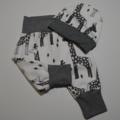 Giraffes White Organic Cotton Jersey Harem Pants With Matching Hat