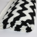 Black & White Crocheted Chevron  Blanket | Ready to Ship | Monochrome Blanket
