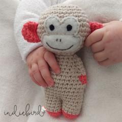 Crochet Monkey Baby Rattle - Orange