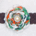 Ruffle Flower Headband - Green & Orange