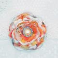 Ruffle Flower Headband - Peach & White